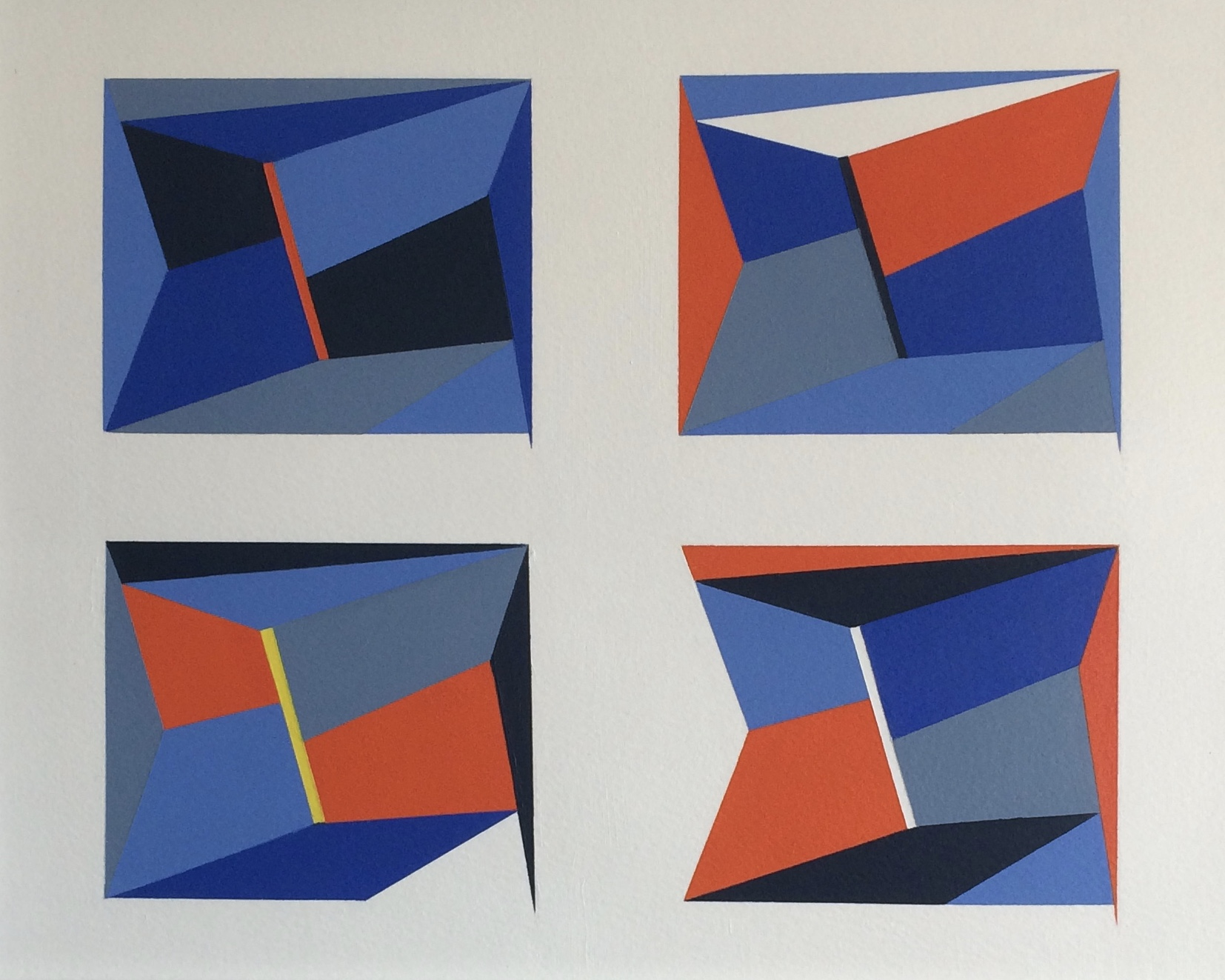 'Composition 4 x 4' (2020), Acrylic on Watercolour Paper (36 x 28cm)